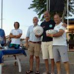 La premiazione del Fordiani, con Michele Tognozzi primo e Andrea Pisaneschi secondo dopo un appassionante match race sui Finn